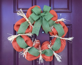 Bubble burlap wreath, Fall, Autumn, Pumpkin, Raffia, Burlap bow, Rustic, Fall Decor