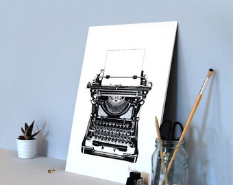 Typewriter (limited edition A3 screenprint) - Vintage style