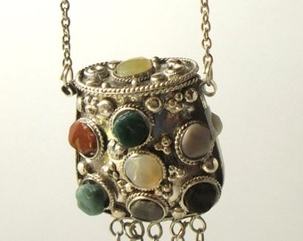 Metal Purse Genuine Agates Necklace Purse Vintage Edwardian Bohemian Retro