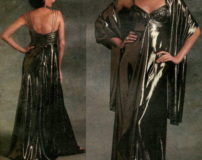 FREE US SHIP Vogue 1079 Badgley Mischka Evening Gown & Stole 2008 Out of Print Sewing Pattern Size 6 8 10, 18 20 22  Bust 30 31 32 40 42 44