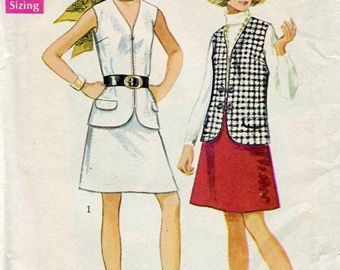 FREE US SHIP Simplicity 8277 Vintage Retro 1960s 60s Uncut Jiffy Vest Skirt 34 Sewing Pattern