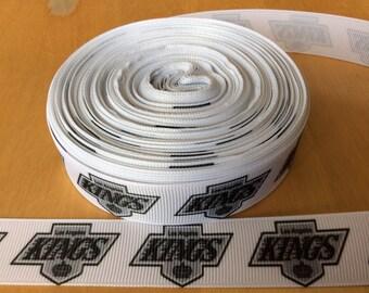 "LA Kings Grosgrain Ribbon - 7/8"", Hockey Ribbon, Los Angelos Kings Ribbon"