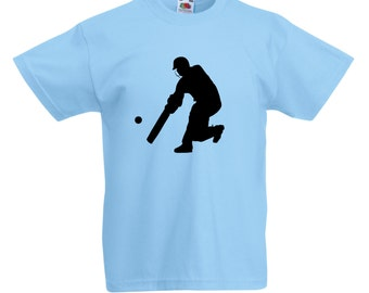 Kids Cricket Player T-Shirt / Childrens Cricketer T Shirt in Blue, Yellow, Pink, Grey, Navy / Ages: 3-4, 5-6, 7-8, 9-11, 12-13