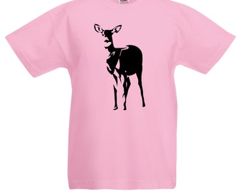 Kids Deer T-Shirt / Childrens Animal T Shirt / Boys Pink T-Shirt Also Grey, Light Blue, Yellow, Orange / Ages: 3-4, 5-6, 7-8, 9-11, 12-13