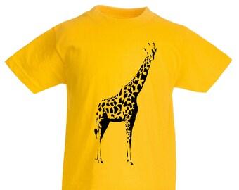 Kids Giraffe T-Shirt / Childrens Yellow T-Shirt / Boys Girls Zoo Animal Tee Pink Grey Light Blue Orange Age: 3-4, 5-6, 7-8, 9-11, 12-13