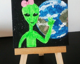 Alienna's First Visit -- 3x3in canvas, original acrylic glow in the dark painting