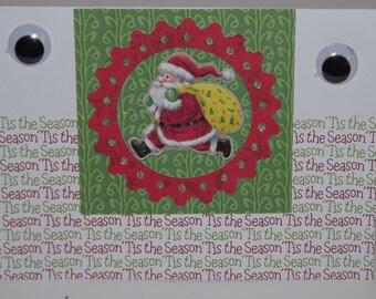 Christmas Card Kids Children Greeting Card Google Eyes Santa's Watching