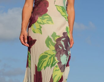 Vintage floral chiffon silk dress.size L