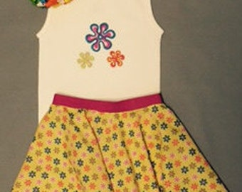 Girls Circle Skirt and matching embroidered Tank Top