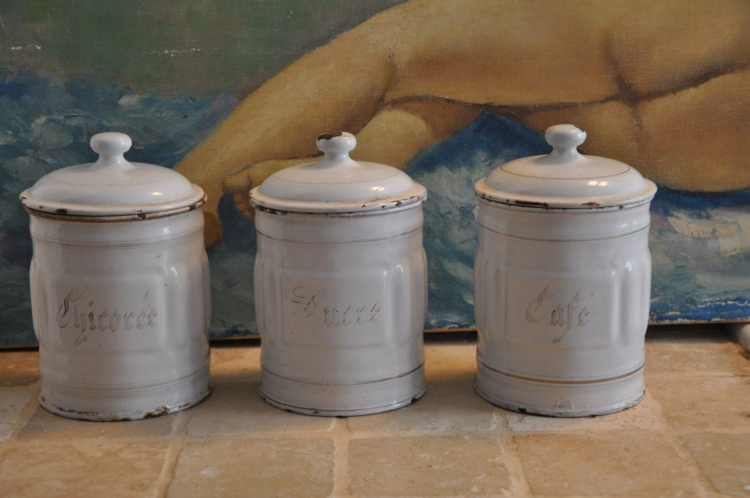 Vintage Kitchen Canisters French Enamel Canisters Kitchen