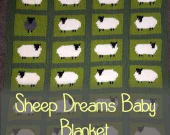 Sheep Dreams Baby Blanket Knitting Pattern PDF