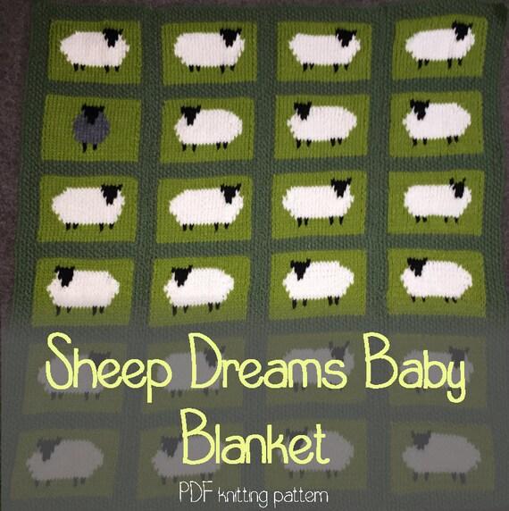 Knitting Pattern For Sheep Blanket : Sheep Dreams Baby Blanket Knitting Pattern PDF