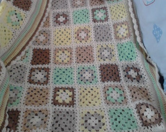 """Patchwork Crochet Baby Blanket 35"""" 90cm Made To Order"""