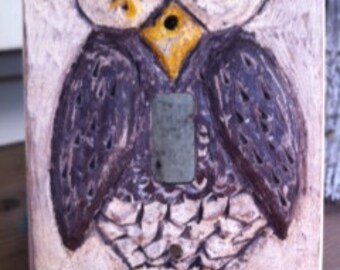 Hand Carved Owl Switch Plate By Kurin Wickard