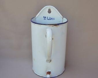 French Vintage Enamelware Graniteware White Enamel Medicine Enema Pot - Graduated Pot Liter - Garden Fountain - Garden Decor