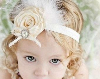 Baby headband, toddler headband, newborn photo prop, baby photo prop, baby shower gift, baby headband white headband, flower headband, girls