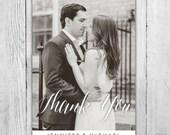 Custom Photo Wedding Thank You Card, Calligraphy Thank You Card, Wedding Thank You Card Photo