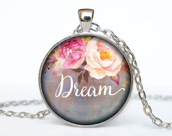 Dream necklace Dream pendant Dream jewelry Dream word