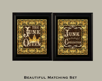 "JUNK QUEEN Sign Set Beautiful 8X10 High Resolution Digital Prints ""Junk Collector"" & ""Junk Queen"""