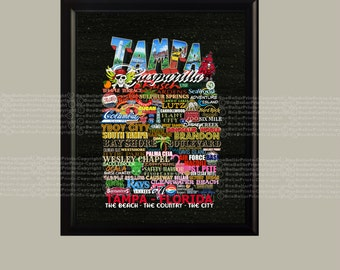 TAMPA Everything about Tampa Original Design Typography Subway Art great Souvenir High Digital 8X10 Instant Download ready to frame