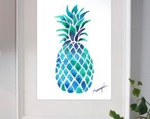 Original Blue pineapple watercolor. Artwork, decoration, ananas, colorful, funny, ideas decor kitchen, living-room, original pineapple