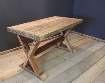 Dining Table, Crofters Farmhouse Kitchen Table, Handmade Chunky 'X' Frame (The Cinderford)