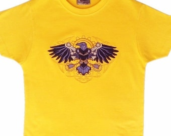 Machine embroidered Steampunk raven on boys'  t-shirt
