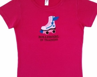 Girls t-shirt, machine embroidered rollerskate on girls t-shirt