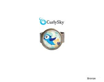 Bronze Blue Ring Bronze and Blue Statement Ring Blue Bird Adjustable Ring Blue Bird Statement Ring Blue Bird Ring Jewelry Blue Bird Jewelry