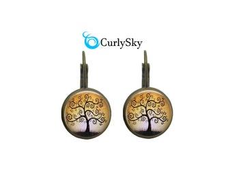 Golden Earrings Amber Tree Earrings Golden Tree Earrings Golden Amber Earrings Amber Gold Earrings Amber Dangles Golden Tree Earrings