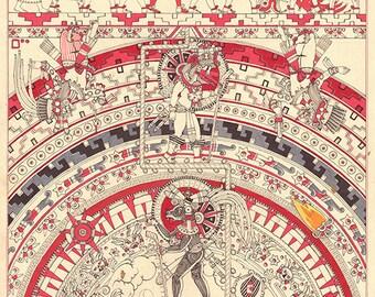 The Descent of Quetzalcoatl, 1 - BLACK & RED - Fine Art Print - Mexica Spirituality