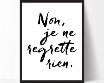 Motivational Print Non, je ne... French Quote Cadre Inspirational Quote Wall Art Home Decor Birthday Gift Black White Print Christmas Gift