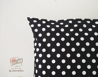 Bed pillow covers,Pillow case,Black polka dots
