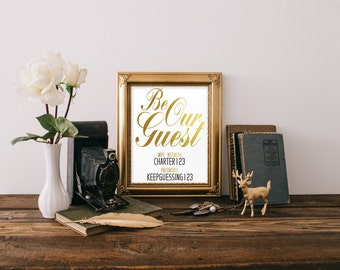 Be Our Guest, Instant Download, Wifi Password, Wifi Sign, Wall Decor, Print, Home Decor, Wifi password printable, Guest room decor, Gold