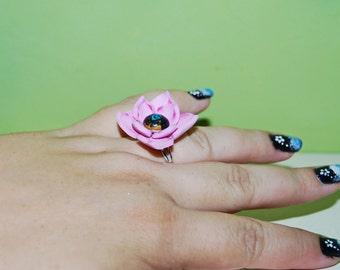 Pink Waterlily ring, flower ring, adjustable ring