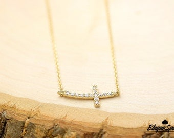 Gold Cubic Zirconia Curved Sideways Cross Necklace
