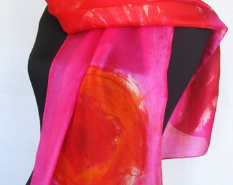 Fuchsia silk scarf/Hand painted Floral scarf shawl. Bold colored abstract scarf. Fuchsia Pink red scarf.Long fashion scarf. Painting on silk