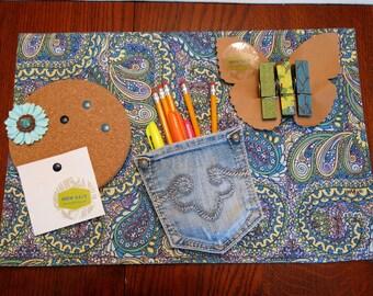School locker decor kit, magnetic bulletin board, magnetic clothespins, non-slip locker rug, magnetic jean pocket organizer, back to school