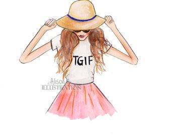 Fashion Illustration Print- TGIF- Friday print- print- fashion sketch - Weekend-art print-wall art- Fashion girl-fine art print-home decor