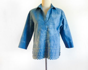Indigo Embroidered Tunic - Eco Dyed Blue Tunic - Upcycled Tunic - Tunic with Embroidery - Size M - Altered Embroidered Tunic - Hand Dyed