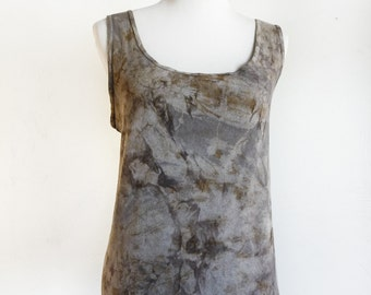 Hand Dyed Tank Top - Eco Dyed Top - Sleeveless Shirt - Altered - Upcycled - Eco Friendly - Grey, Black, Brown - Size XXL - Shibori Tie Dye