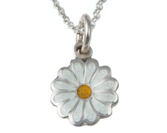 Silver and Enamel Necklace - Daisy