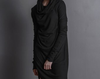 Black GOLF or short DRESS/tunic / triangle in front / multisize dress / extravagant dress / long sleeves
