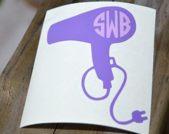 Hair Dryer Monogram Decal Hair Stylist