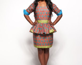 Ankara African Print Dress with Detachable Peplum