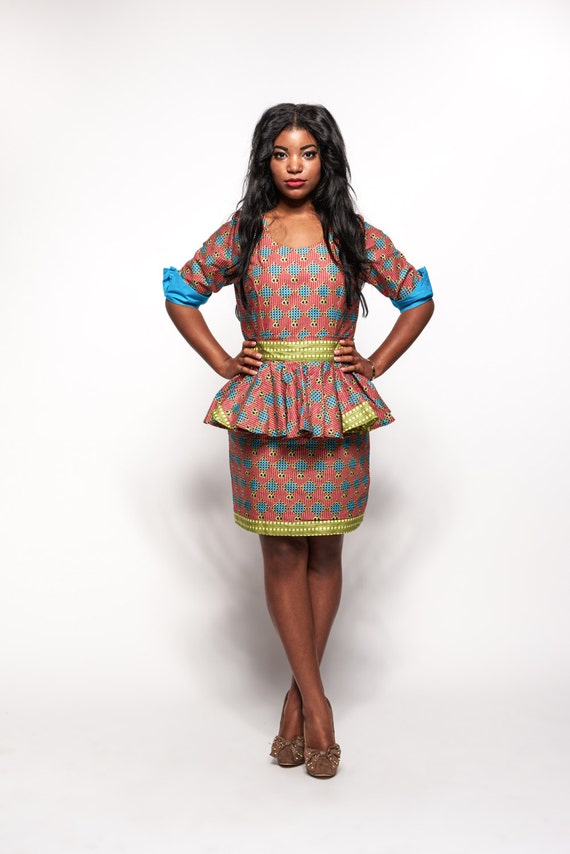 Ankara African Print Dress with Detachable Peplum