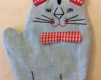 Cutie Cat Potholder vintage handmade