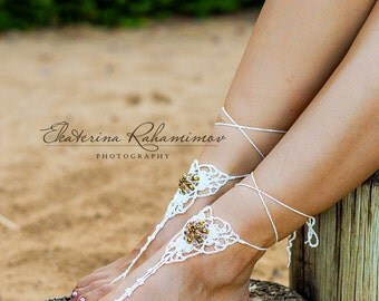 White Beach Wedding Beaded Crochet Barefoot Sandals, Beach Party Shoes, Beach Wedding Shoes, Summer Crochet Shoes, Beach Party Sandals