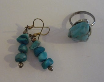 Vintage Chunky Turquoise Drop Earrings and Adjustable Ring