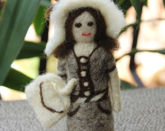Needle felted Doll,Lady Doll with a purse and a hat - Custom Made Wool Needle felted Figurine